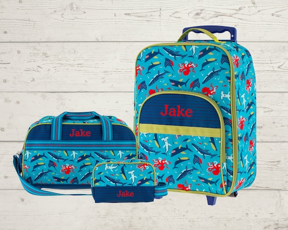 Children's Total Travel Set including All Over Print Rolling Luggage, Duffel Bag and Toiletry Bag Set with Embroidery Personalization