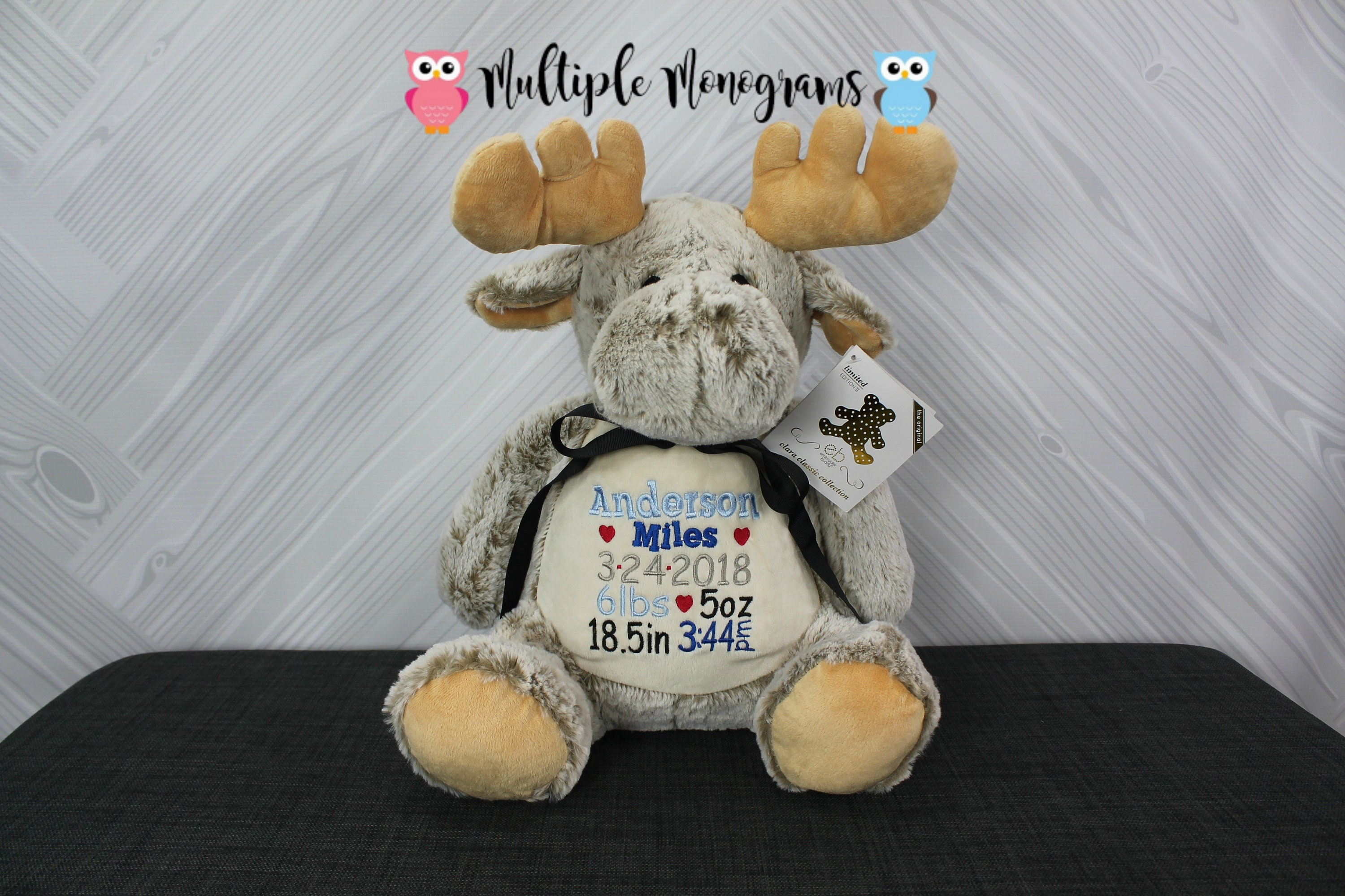Personalized Baby Stuffed Animals, Personalized Stuffed Animal Completely Customizable Baby Shower New Baby Baptism Adoption Christmas Birthday Gift