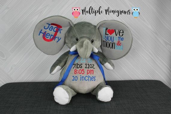 Personalized Elephant Stuffed Animal. Completely Customizable. New Baby Gift. Adoption Gift. Birthday Gift. Keepsake. Baptism Gift.