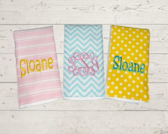 Monogrammed Burp Cloths, Set of 3, Custom made for boy or girl, stripe polka dot chevron burp cloths