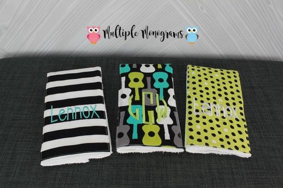 Monogrammed Burp Cloths, Set of 3, Custom made for boy or girl, guitar chevron burp cloths