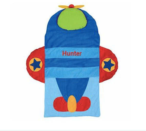 Stephen Joseph Airplane Nap Mat with blanket and pillow attached FREE Embroidery personalization