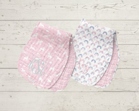 Muslin Burp Cloths Set of 2 for Baby Personalized