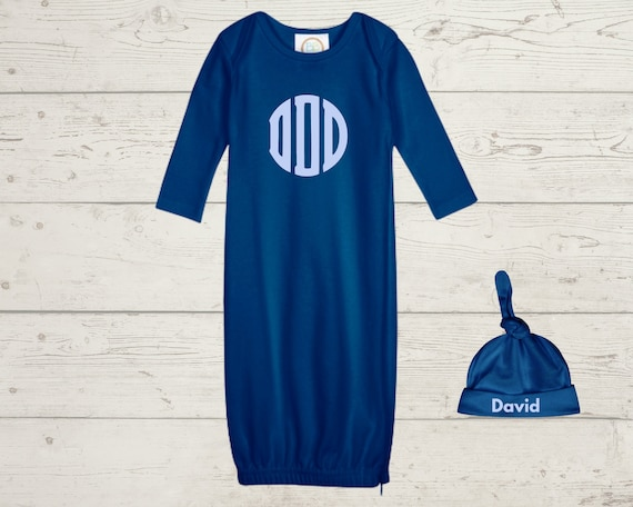 Embroidery Monogrammed Infant Baby Boy Gown with side zipper and Optional Hat