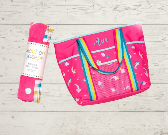 Children's Personalized Beach Tote and Towel Set with Embroidery Personalization