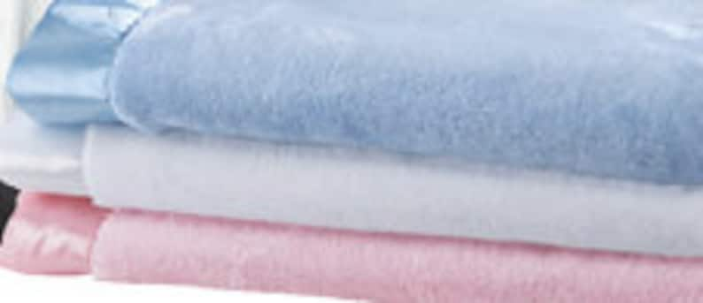 Baby Blue and White Monogrammed Baby Satin Trim Microfleece Blanket Light Pink