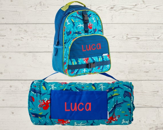 Children's All Over Print Nap Mat and Backpack Set Stephen Joseph with Embroidery Personalization