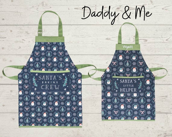 Daddy & Me Adult and Kids Christmas Aprons with Embroidery Personalization