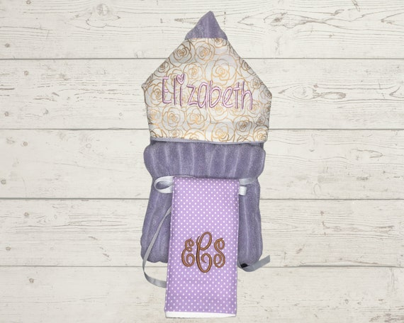 Just a Little Bit Baby gift basket- Custom for boy or girl monogrammed hooded towel, burp cloths and bib. Perfect baby shower gift!