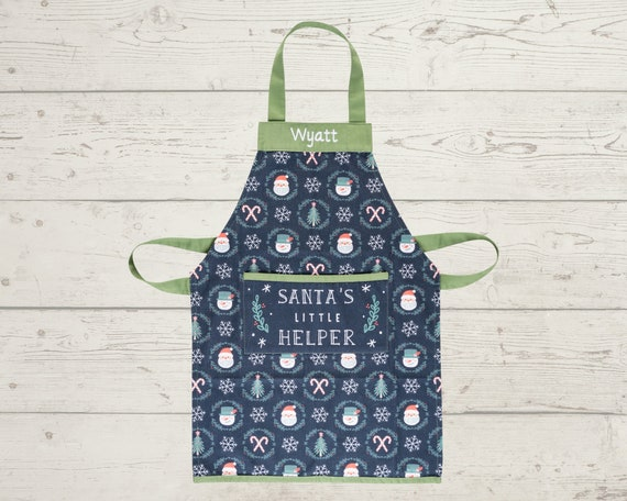 Kids Christmas Apron with Embroidery Personalization