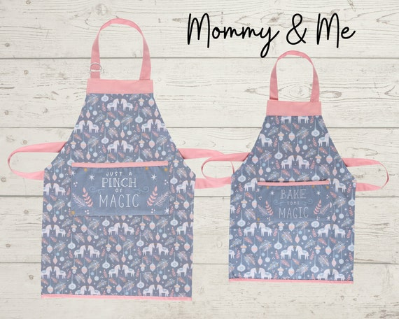 Mommy & Me Adult and Kids Christmas Aprons with Embroidery Personalization