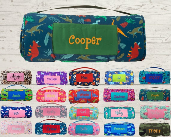 Nap Mat with Pillow and Blanket Attached Stephen Joseph FREE Embroidery Personalization