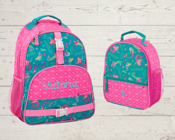 Children's All Over Print Backpack and Lunchbox Set Stephen Joseph with Embroidery Personalization