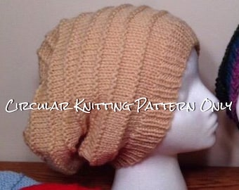 97b700afb98 8-Ridge Slouch Hat - Circular Knit Pattern Only (PDF)  Unisex Loose Fit