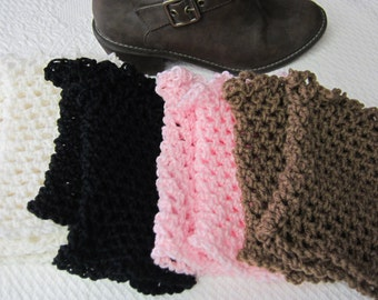Crochet Boot Cuffs,Boot Cuffs,Lace Boot Cuff,Boot Topper,Boot Sock,Black Boot Cuff,Brown Boot Cuff,White Boot Cuff.Pink Boot  Cuff,Fashion