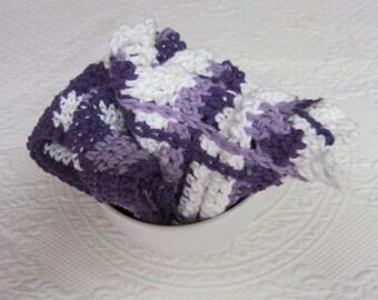 Crochet Dishcloth,Wash cloth,Dish Rag,Wash Rag,Gingham,Set of two,Cotton,Kitchen Decor,Retro,Scalloped Edge,Purple,Checked dish cloth,gift