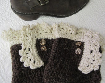 Crochet Boot Cuffs,Boot Cuffs,Lace Boot Cuffs,Boot Toppers,Brown Boot Cuffs,Boot Sock,Brown Lace Boot Cuff,Boho,Women's Fashion,Winter Wear