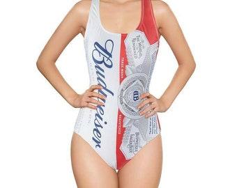 0e0275f2547 Sexy Vintage ladies Bud girl Budweiser logo swimsuit leotard bodysuit 1 pc  suit