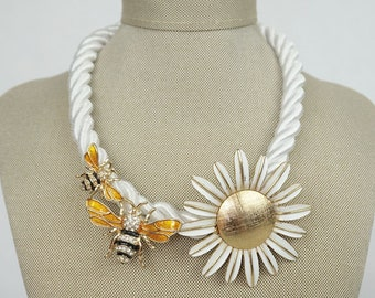 Queen Bee Necklace Handmade with Vintage Avon Daisy Locket on White Cording | Gold Details | Bee Jewelry | Spring Jewelry | Bee Necklace