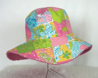 Lilly Pulitzer Patchwork Terrycloth Sunhat, Reversible,  Vintage Lilly Pulitzer Hat, Summer Hat, Women's Sunhat, Vacation Hat, Beach Hat