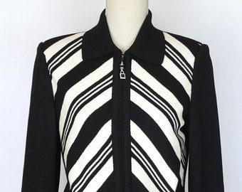 10fe6865aa2 St. John SJK Black   White Zip Jacket