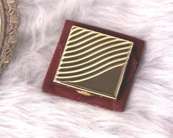 Estee Lauder Golden Wave Square Compact, Estee Lauder Gold Square Compact, Vintage Square Compact