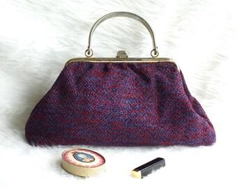 JR USA Woven Wool Handbag, 1950s Blue and Red Tweed Handbag, Oversized JR Woven Wool Red and Blue Handbag, Julius Resnick Tweed Handbag