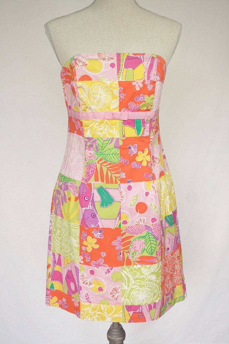 e6aae39a795 Lilly Pulitzer Strapless Patchwork Print Dress Vintage Lilly