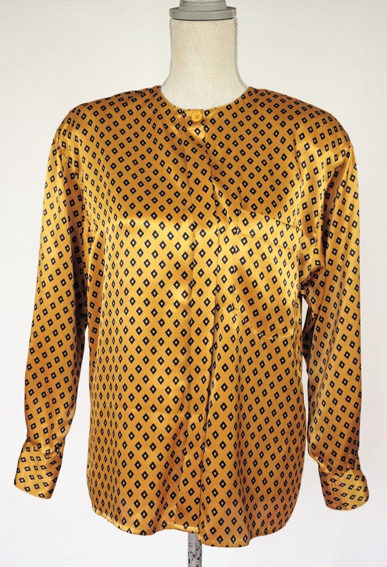 4ad8a999b0ce1c Vintage Christian Dior Gold Blouse with Black Diamond Print | Etsy
