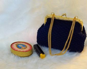 Vintage, 1960s,  Walborg Navy Blue Crocheted Purse, Walborg Crocheted Purse made in Italy, Navy Blue Crocheted Handbag          rse,