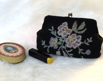 Vintage Beaded Black Clutch With Floral Pattern, 1950s Black Beaded Clutch, Black Beaded Evening Clutch, Black Evening Clutch