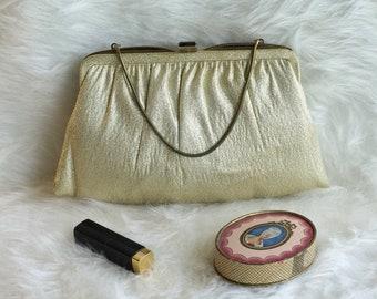 Vintage, 1960s Ande Gold Lame Handbag/Clutch, Gold Evening Bag/Clutch, Vintage Gold Handbag, 1960s Gold Handbag
