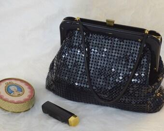 """Vintage, Shiny Black """"Glomesh"""" Metal Mesh Handbag, 1960s Black Metal Mesh Purse, Vintage Black Metal Mesh Handbag"""