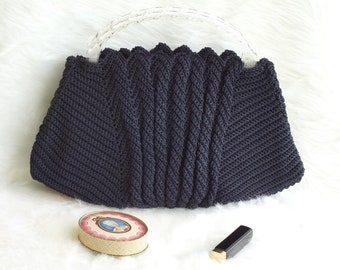 Vintage 1960s Navy Blue Crocheted Handbag with Acrylic Handles, Vintage Navy Blue Purse with Acrylic Handles, Vintage Navy Blue Handbagg