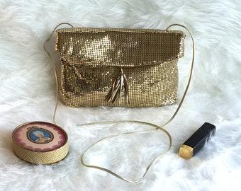 Vintage Whiting and Davis Gold Mesh Shoulder Bag, Vintage Gold Handbag, Vintage Gold Shoulder Bag, Whiting and Davis Gold Mesh Handbag