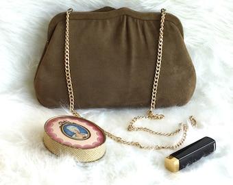 Vintage 1970s, Ande Brown Suede Shoulder Bag/Clutch, 1970s Brown Suede Shoulder Bag, Vintage Brown Suede Clutch, 1970s Brown Suede Handbag