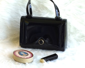 Vintage 1960s Lewis Black Patent Leather Handbag, Lewis Black Patent Leather Purse, Vintage Black Patent Leather Purse with Top Handle