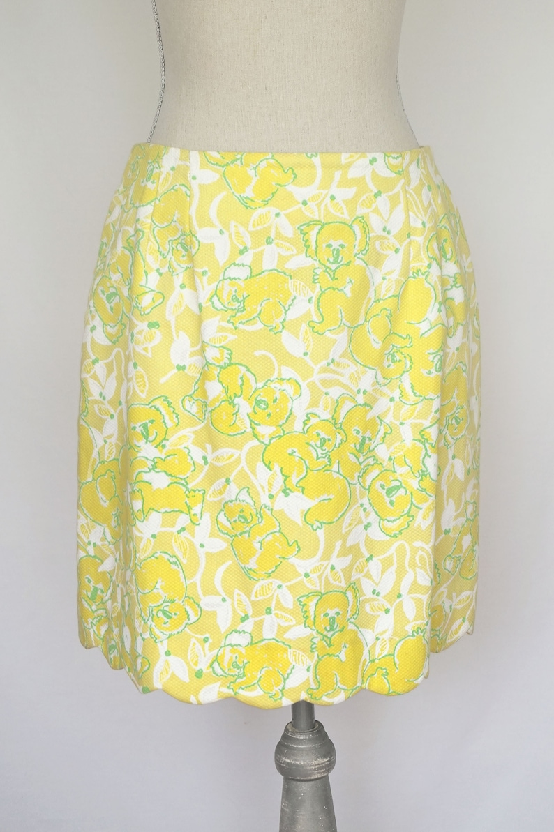 e32740ac70da40 Vintage Lilly Pulitzer Yellow Skirt with Koala Print and | Etsy