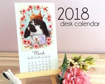 2018 Desk Calendar Chinese Zodiac, Wooden Easel Desk Calendar