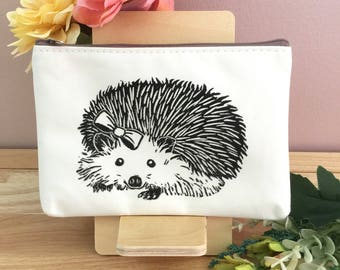 Hedgehog Handprinted Pouch