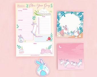 Easter rabbit stationery kawaii rabbit memos office Rabbit memo rabbit sticky notes spring stationery rabbit notes with zipper bag