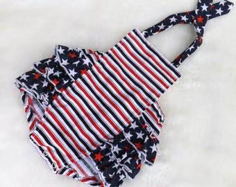 7c30aa9fc981 July 4th Romper - Baby Girl Romper - Bubble Romper - Patriotic Romper -  Romper - Red White Blue - Stars and Stripes - Sunsuit - Vintage