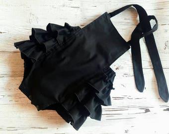 Black Bubble Romper - Baby Bubble Romper -  Baby Romper- Baby Girl Romper - Solid Black - Romper - Baby Sunsuit - Photo Prop - Vintage Look