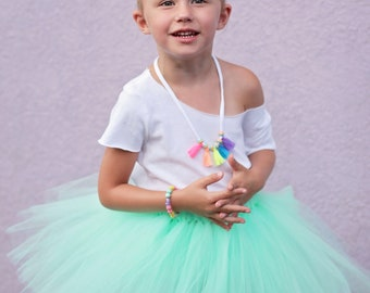 Ready To Ship Mint Green Ivory Mermaid Tutu Set Double Layer Outfit Baby Girl Size 6 9 12 18 24 Months 3T RTS Under The Sea