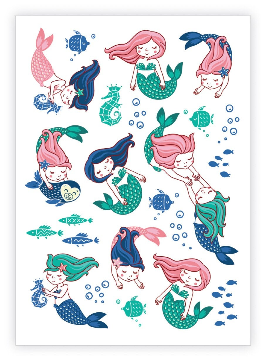 Little Mermaids Life Temporary Tattoo Sheet, Sea Creatures, Ocean ...