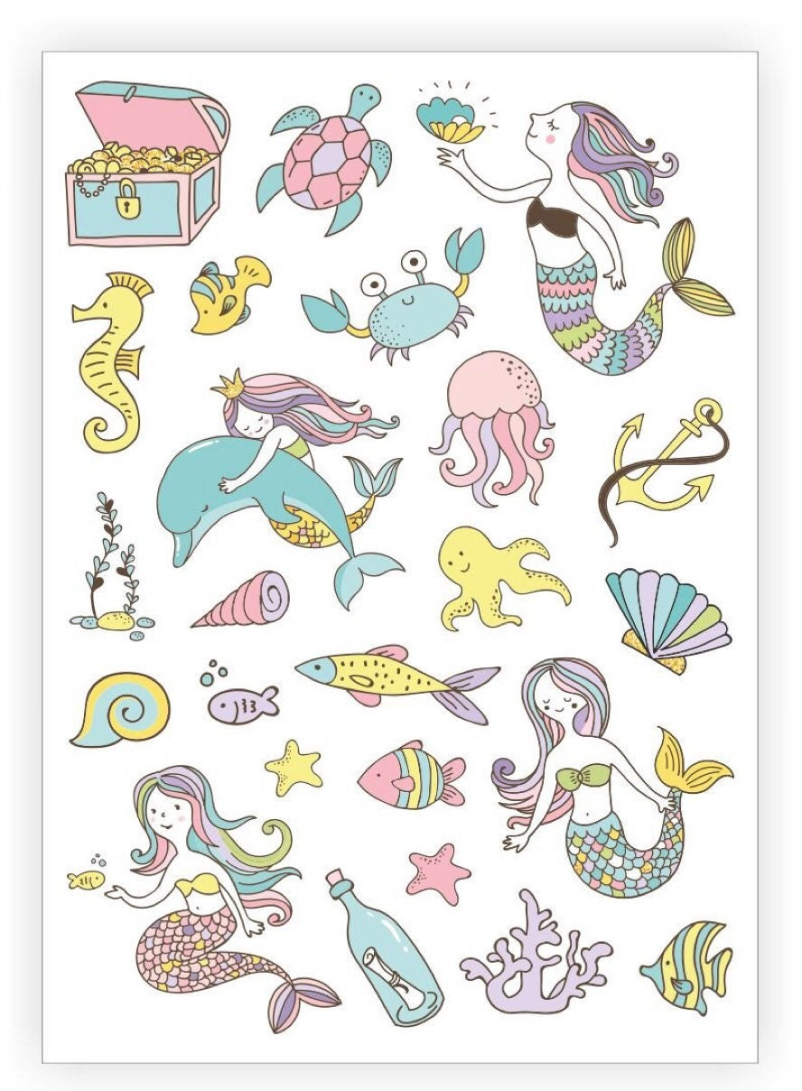 Mermaid Life Temporary Tattoo Sheet, Sea Creatures, Ocean Life ...