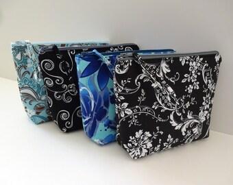 Zipper Bags (Set of 4), iPhone 8, 7, 6S Zipper Pouch, Bridesmaid Gift, Cosmetic, Makeup Bag, Gadget Case, Zipper Bag - Floral, Black, Blue