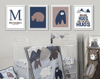 Baby Boy Nursery Art Print. Lambs and Ivy Montana Art. Bear Nursery Art. Bear Nursery Decor. Woodland Nursery Decor. Woodland Art. (NS-838)