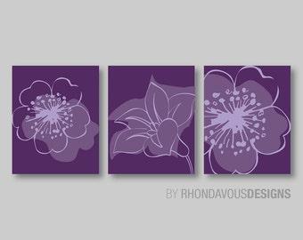 Lavender Purple Flower Print Trio   Purple Bedroom Art. Purple Nursery Art.  Living Room Decor. Flower Bedroom Art. Wall Art. Canvas. (NS344)