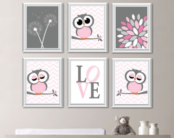 Baby Girl Nursery Art Prints Owl Nursery Art Decor Wall